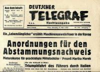 Sammlung Anschluß Österreichs an das Deutsche Reich 1938: 1132 Zeitungen, 94 Postkarten, 95 Ephemera und 22 Bücher.