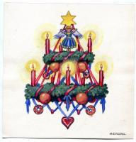 "<span style=""color:black;\"">Fossel, M. E.</span> Weihnachtskranz. Aquarell."